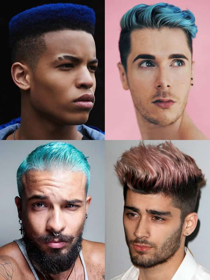 Men's Colourful Blue/Green/Pink Coloured/Dyed Hairstyles