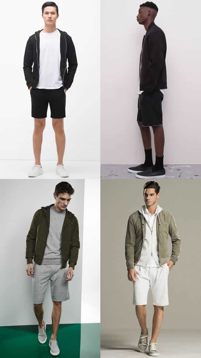 Men's Sweat Shorts, T-Shirt and Bomber Jacket/Hoody Summer Fashion/Style Outfit Inspiration Lookbook