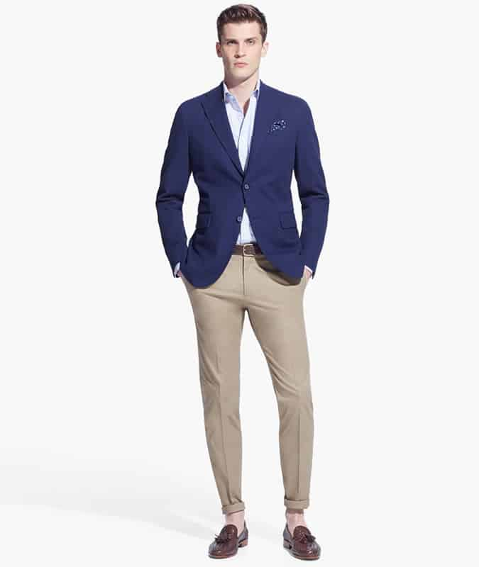 Men's Outfit Inspiration Lookbook - Navy Blazer + Beige Chinos