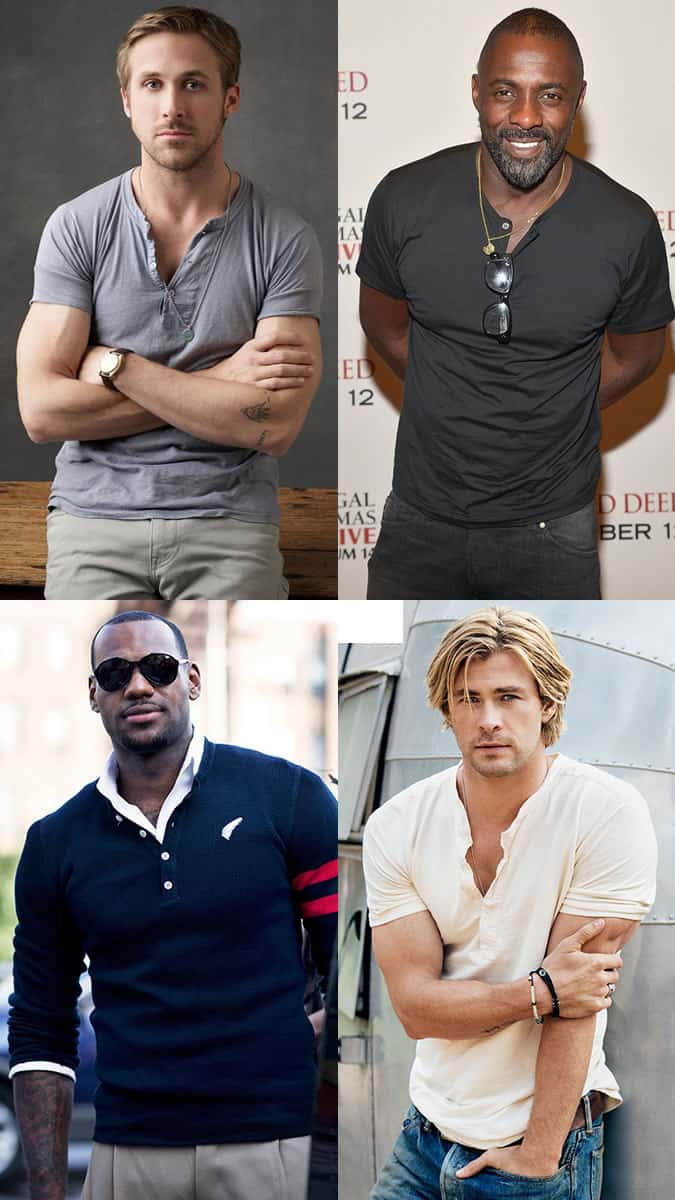 Henley Tops - Ryan Gosling, Idris Elba, Lebron James, Chris Hemsworth