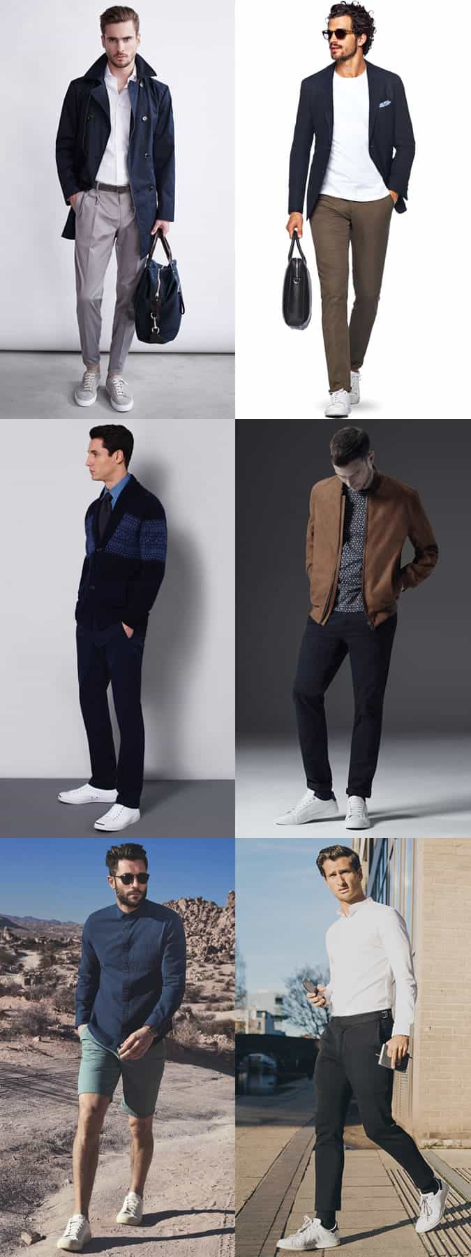 Men's Plain Neutral Trainers/Sneakers Fashion/Style Outfit Inspiration Lookbook