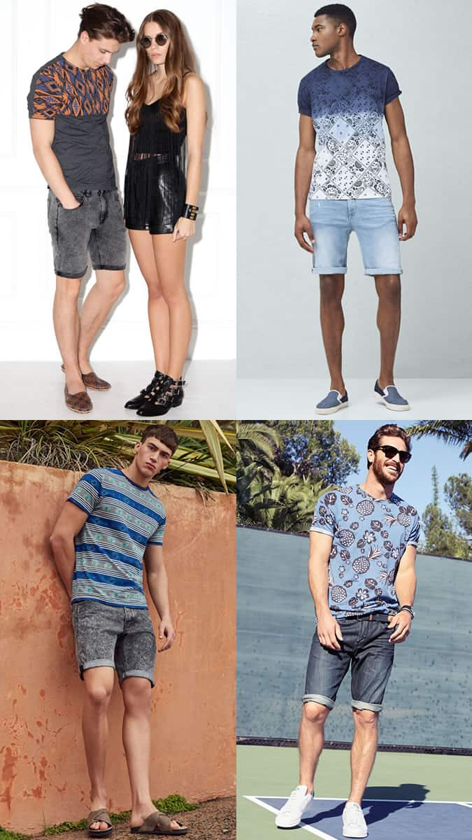Men's Printed T-Shirts with Denim Shorts - Summer Fashion/Style Outfit Inspiration Lookbook