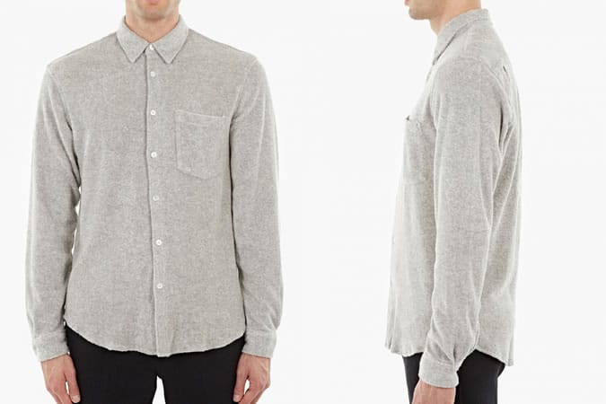 Our Legacy Grey Cotton Towelling Shirt