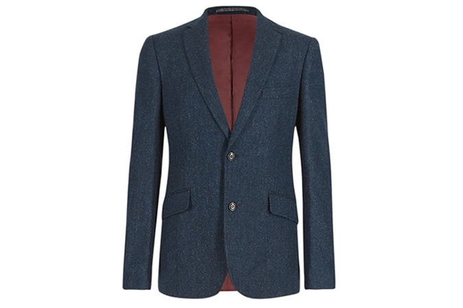 Pure New Wool Tailored Herringbone Blazer