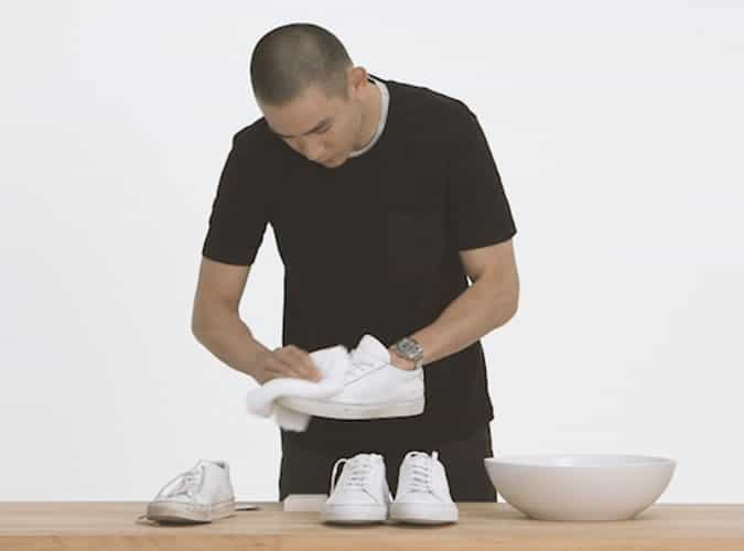 Cleaning white trainers