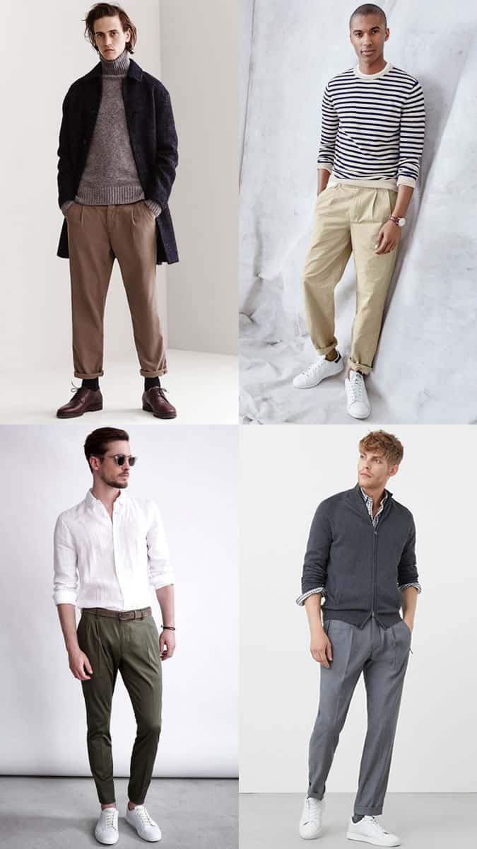 Men's Pleated Trousers Outfit Inspiration Lookbook