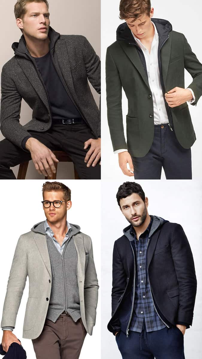 Men's Hoodie + Blazer Layering Combination Outfit Inspiration Lookbook