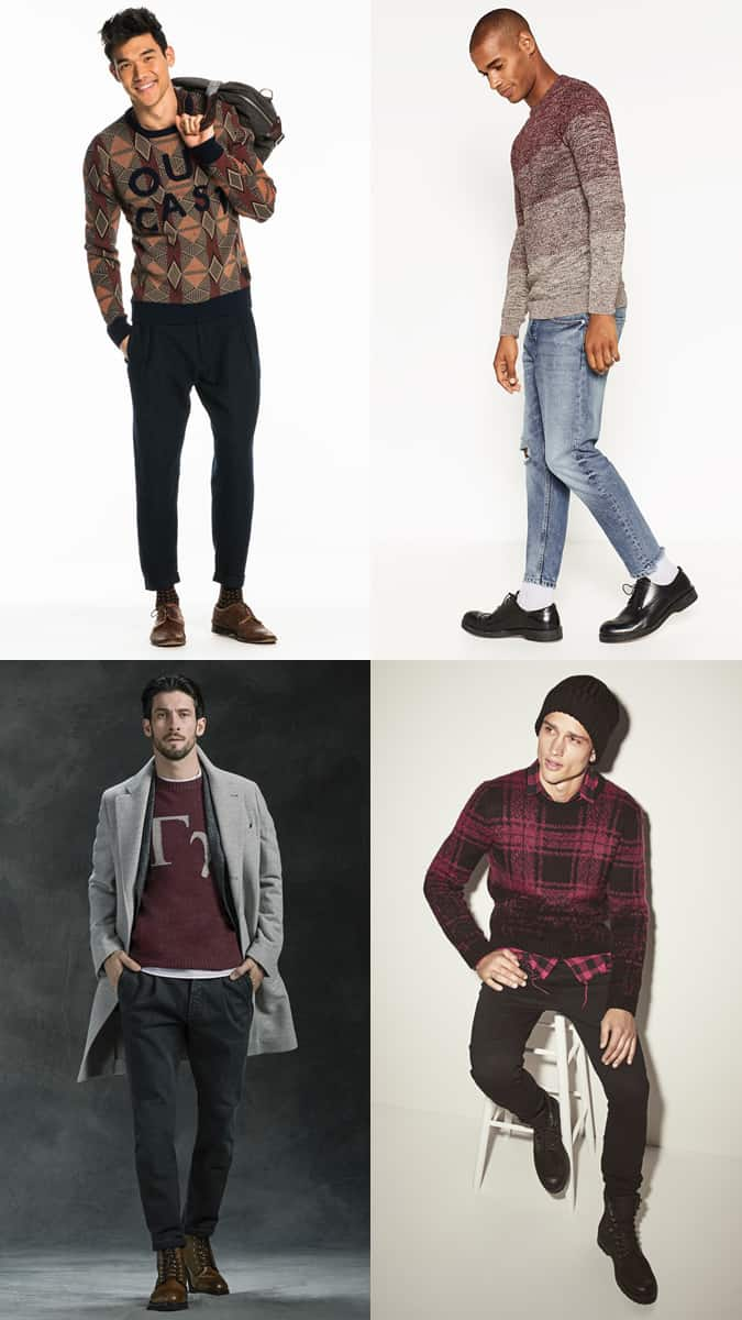 Men's Graphic Knit Jumper Outfit Inspiration Lookbook For Autumn/Winter
