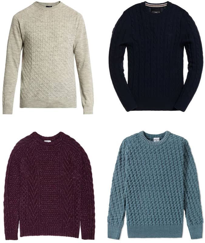 Men's Cable Knit Crew Neck Jumpers