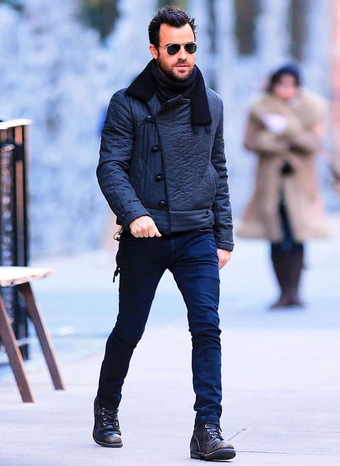 Justin Theroux in a shearling jacket