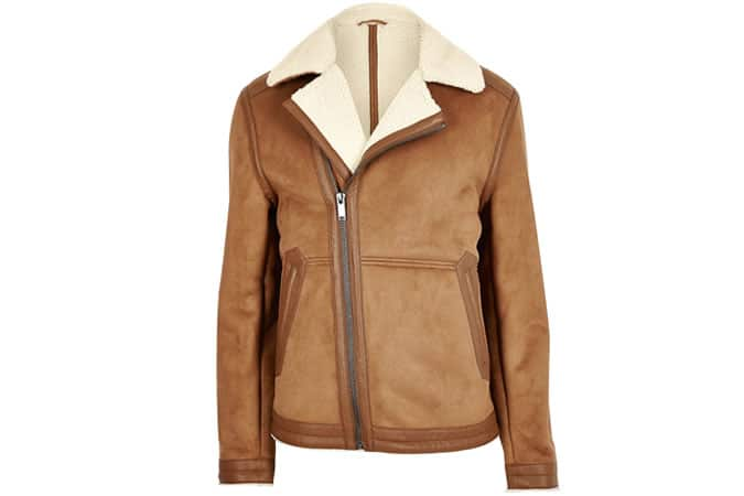 River Island Light Brown Borg Lined Biker Jacket