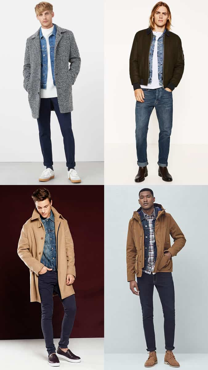 Men's Denim Jackets Layered Underneath Coats and Jackets - Cold-Weather Outfit Combinations Lookbook