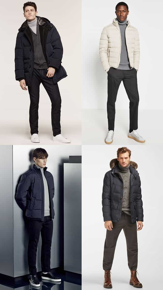 Men's Roll Necks and Puffer Jackets Winter Outfit Inspiration Lookbook