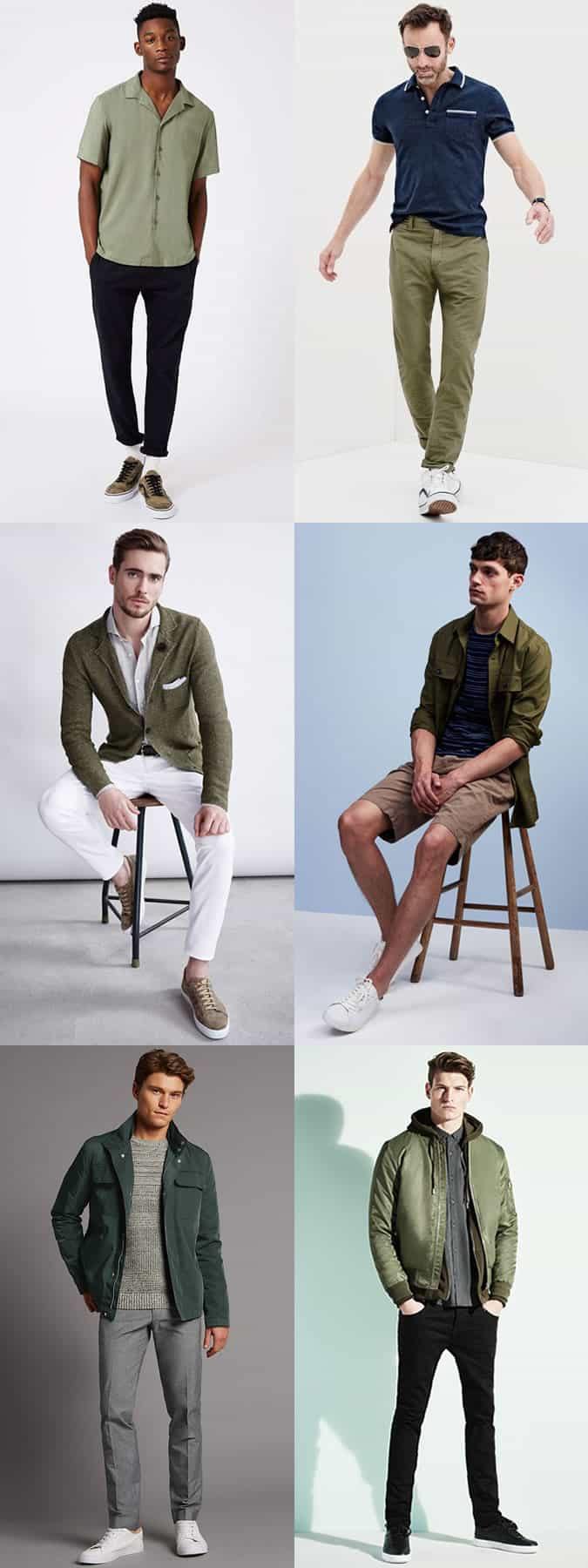 Men's How To Wear Green Outfit Inspiration Lookbook