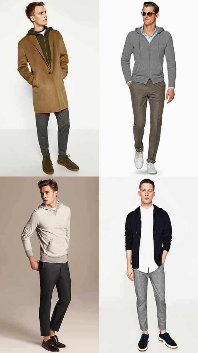 Men's hoodies with tailored trousers outfit inspiration lookbook
