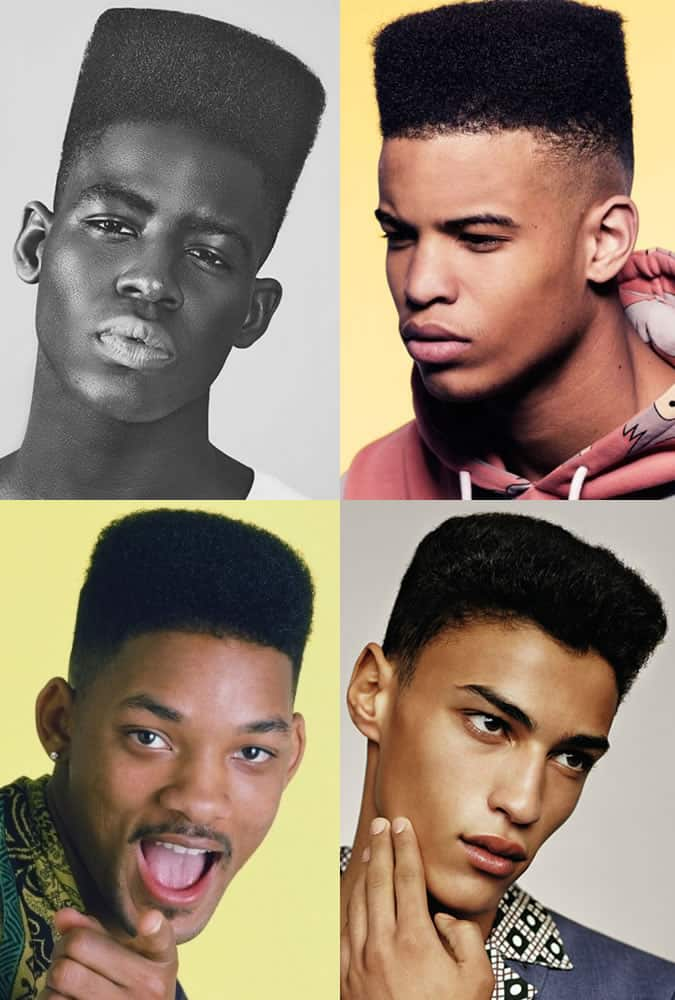 Men's 1980s Flat-Top Fade Hairstyles/Cuts
