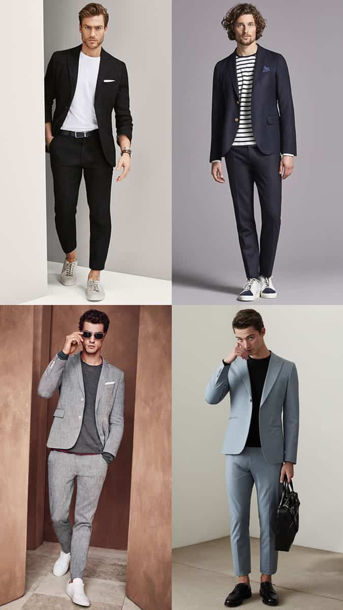 Men's plain t-shirts worn with suits and tailoring outfit inspiration