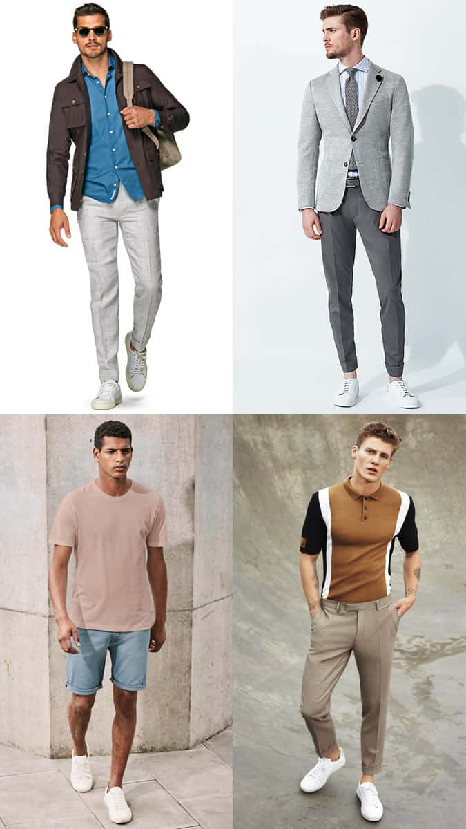 Men's Summer White Trainers/Sneakers Outfit Inspiration Lookbook