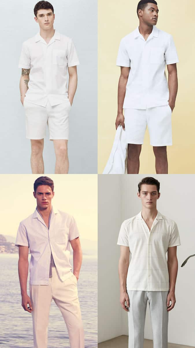 Men's Go-To Summer Looks - Cuban Collar White Outfit Inspiration Lookbook