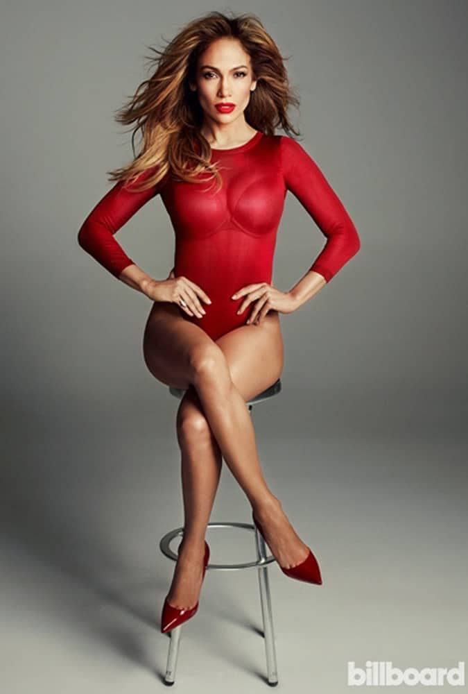 Jennifer Lopez wearing red body suit