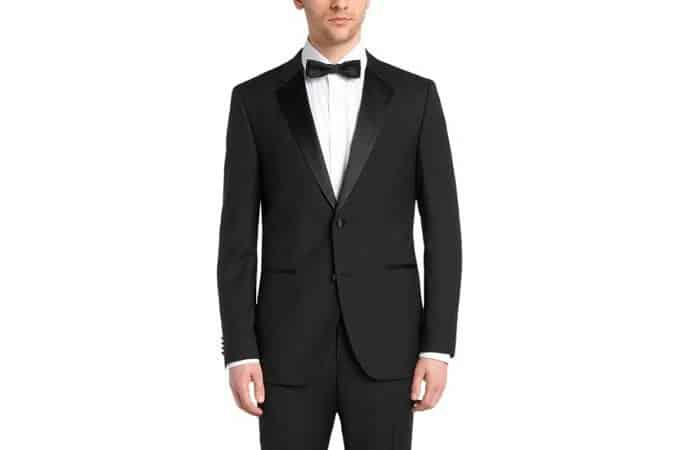 Regular-fit virgin wool tuxedo with silk detail