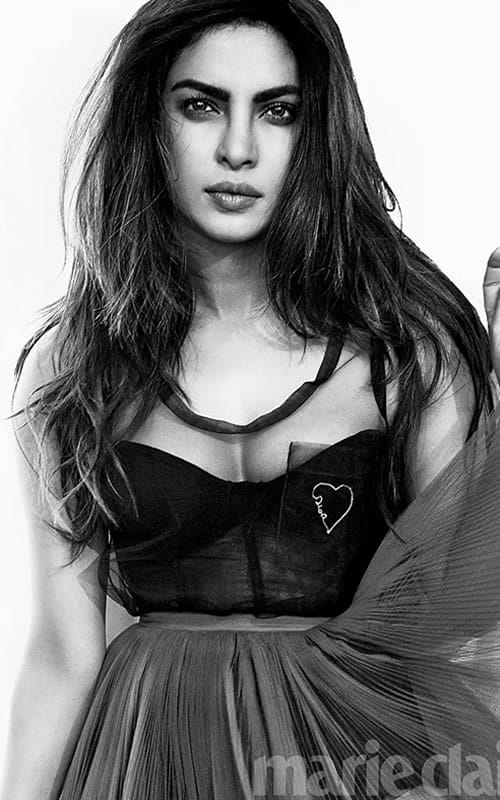 Priyanka Chopra wearing a black lace dress
