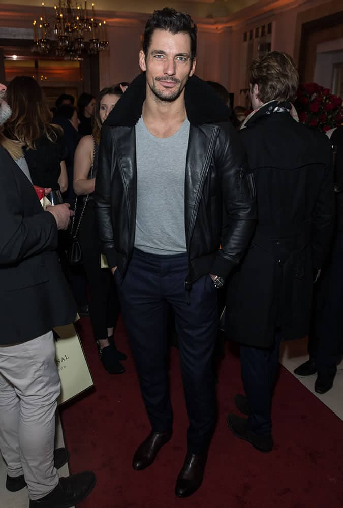 David Gandy wearing a shearling jacket at the Aspinal presentation for London Fashion Week