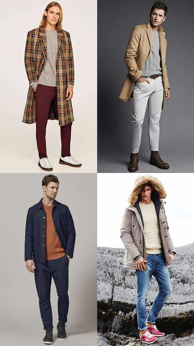 Men's Cable Knit Crew Neck Jumper Outfit Inspiration Lookbook For Autumn/Winter
