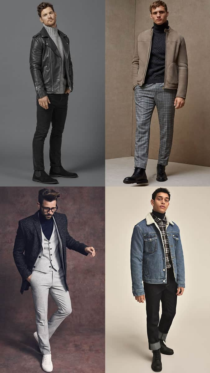 Men's Roll Neck Knit Jumper Outfit Inspiration Lookbook For Autumn/Winter