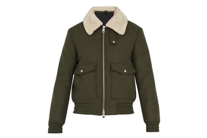 AMI Shearling Collar Bomber Jacket