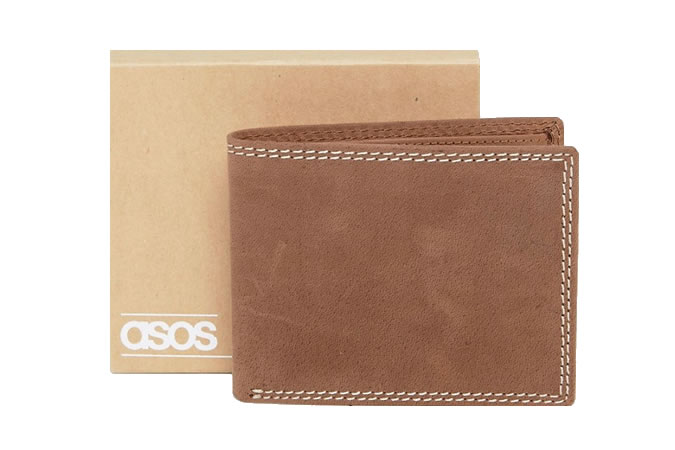 ASOS Distressed Leather Wallet With Contrast Stitching