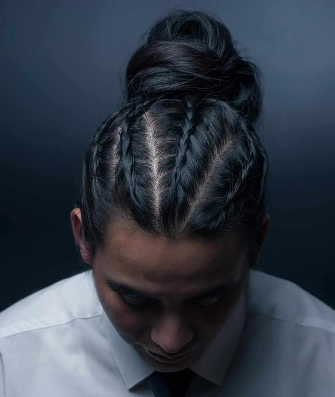 Man Braids with a bun