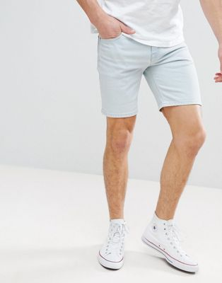 ASOS Denim Shorts In Skinny Light Wash