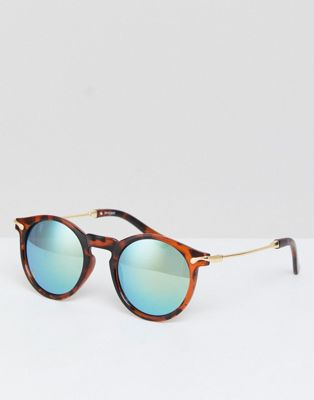 ASOS Round Sunglasses With Metal Arms And Flash Lens