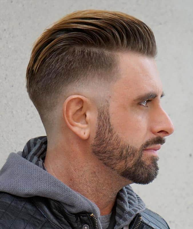 Drop Fade Haircut With Sweep Back