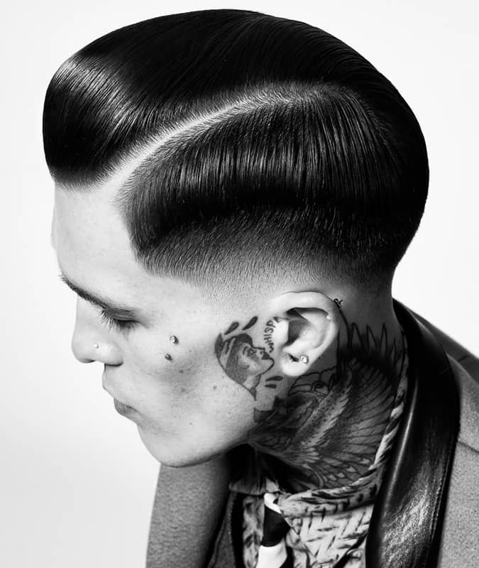 Drop Fade Haircut With Slick Pompadour