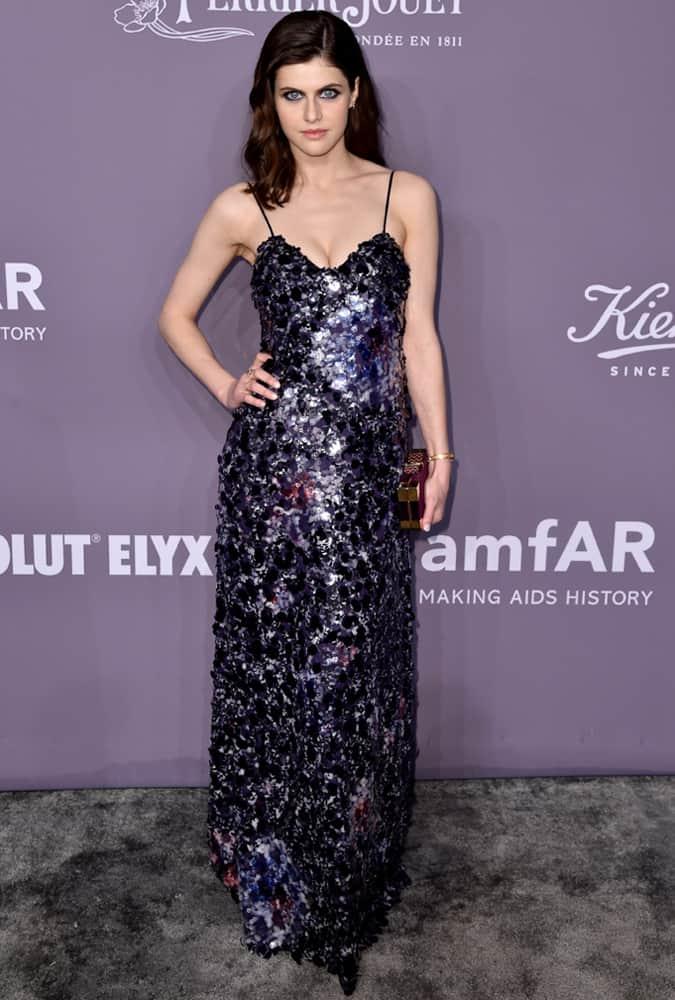 Alexandra Daddario Wearing A Purple Dress