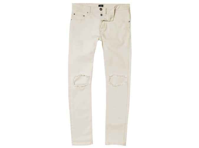 River Island Cream Sid Ripped Skinny Jeans