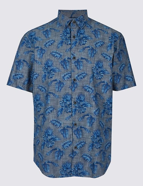 Pure Cotton Palm Print Shirt