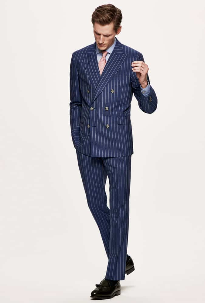 How to wear a double-breasted Pinstripe Suit with a shirt and tie