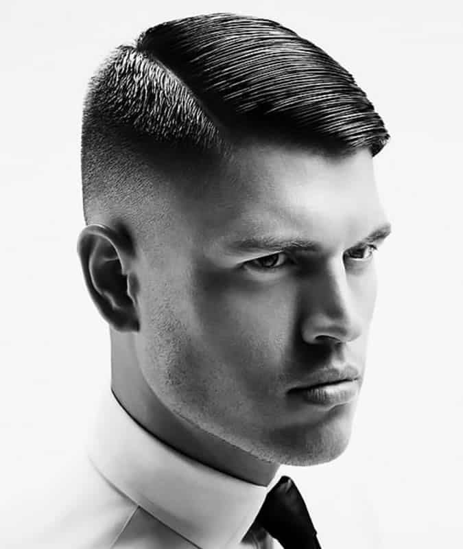 Men's Comb Over Fade Traditional Side Parting Haircut