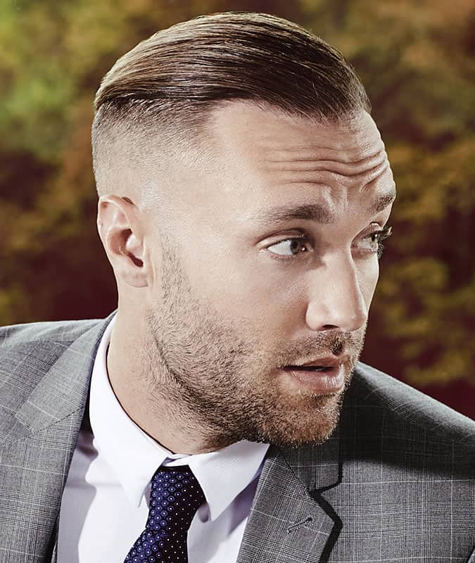 Slick Back Comb Over Fade Undercut Hairstyle For Men