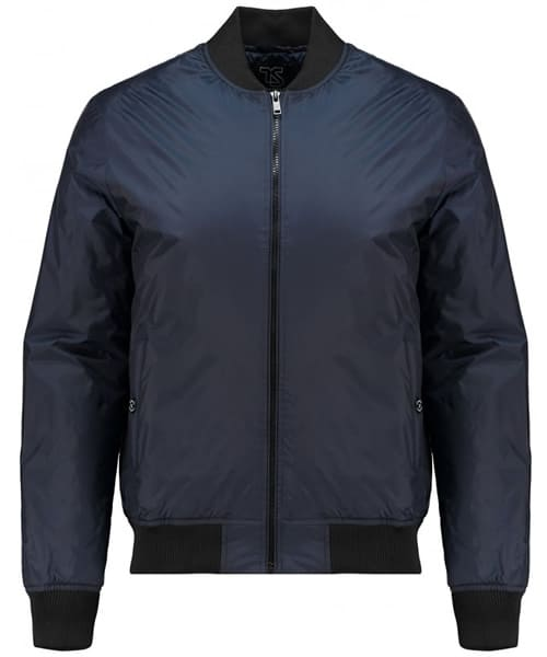 TWISTED SOUL Mens Navy Branded Bomber Jacket