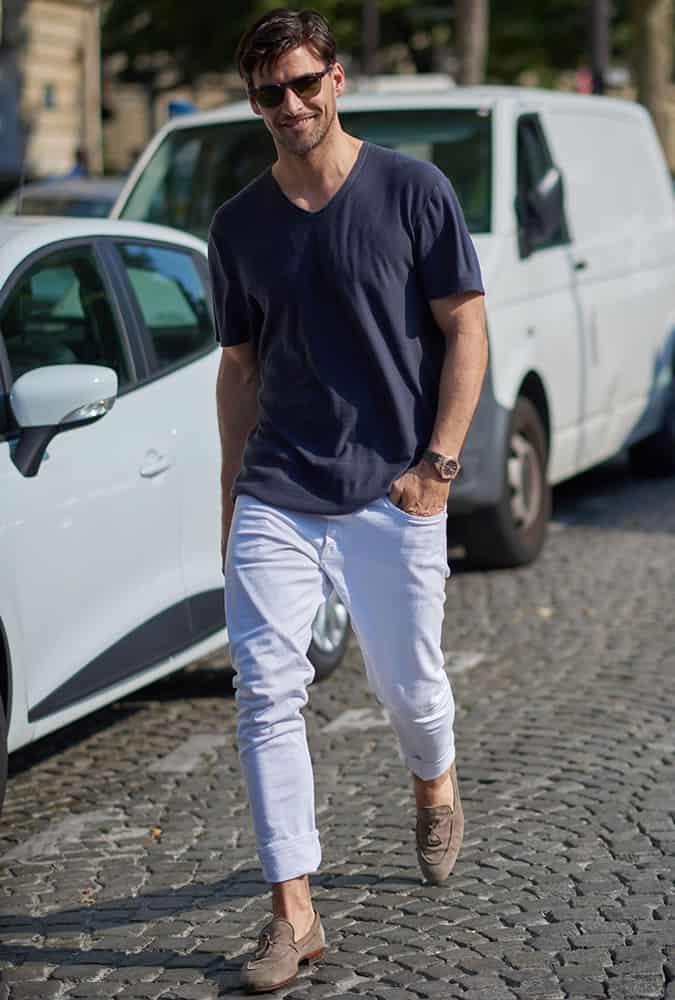 Johannes Huebl Wearing A V-Neck T-Shirt