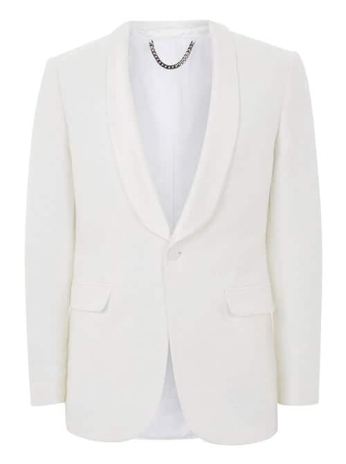 White Jacquard Tuxedo Jacket With Satin Lapel