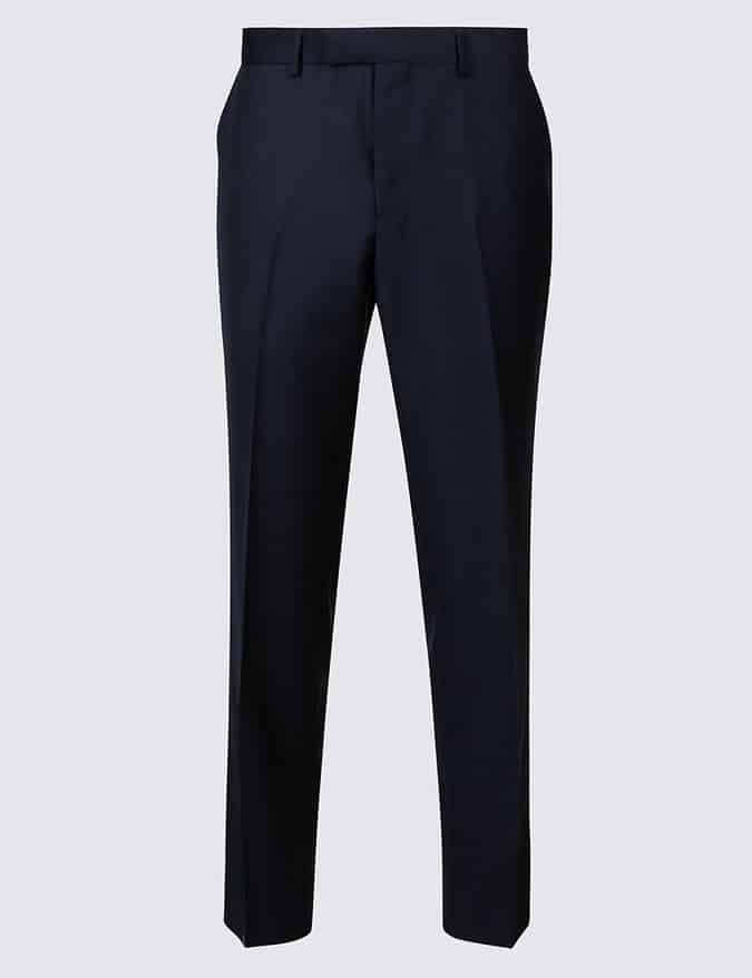 Navy Tailored Fit Wool Trousers