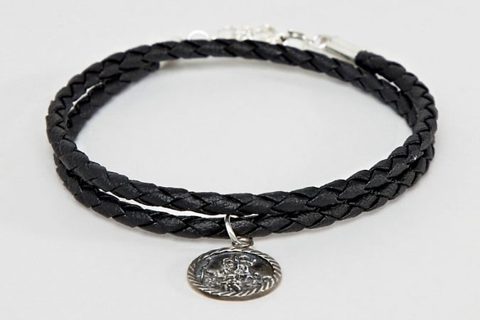 ASOS DESIGN Bracelet With Sterling Silver St Christopher Pendant