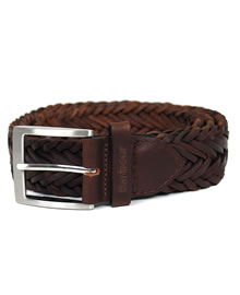 Barbour Plaited Leather Belt Dark Brown