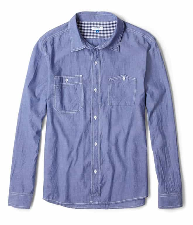 A.P.C. Madras Blue Lightweight Chambray Work Shirt