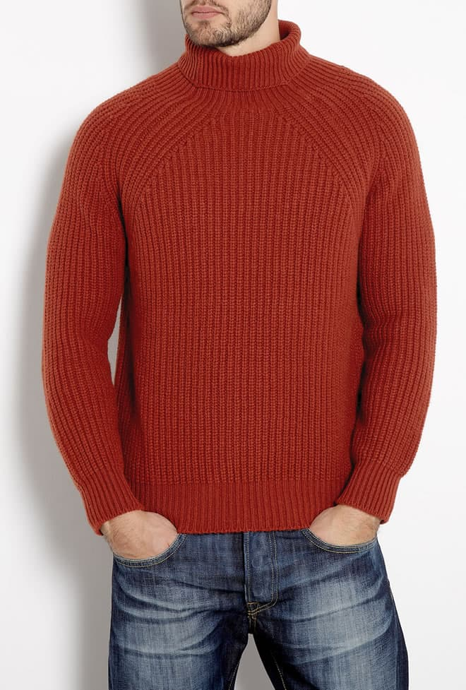 Inis Meain Burnt Orange Boatbuilder's Rollneck Knit